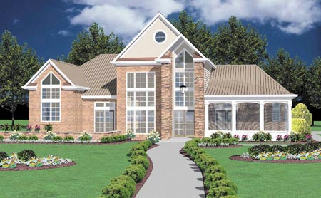 Traditional House Plan 56292 with 3 Beds, 3 Baths, 2 Car Garage Elevation
