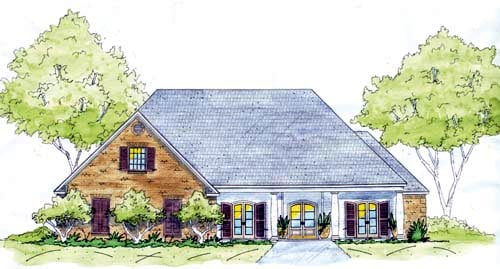 European, One-Story House Plan 56293 with 4 Beds, 3 Baths, 2 Car Garage Elevation