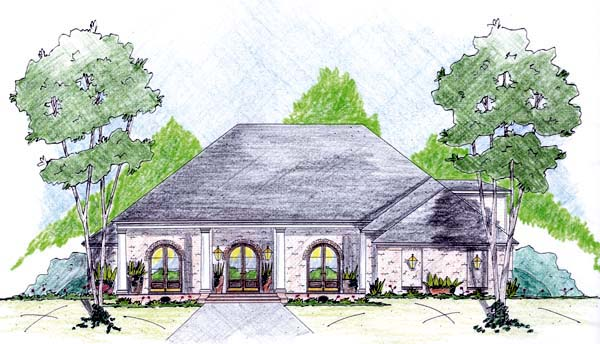 One-Story House Plan 56297 with 4 Beds, 3 Baths, 3 Car Garage Elevation