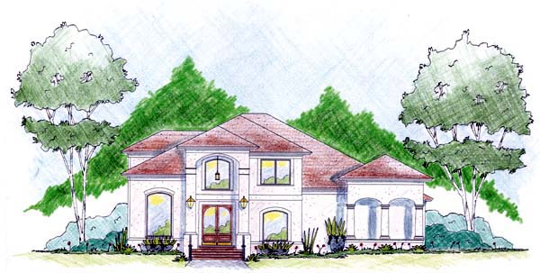 House Plan 56298 with 3 Beds, 4 Baths, 2 Car Garage Elevation