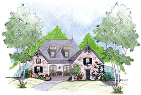 House Plan 56299 with 4 Beds, 3 Baths, 2 Car Garage Elevation