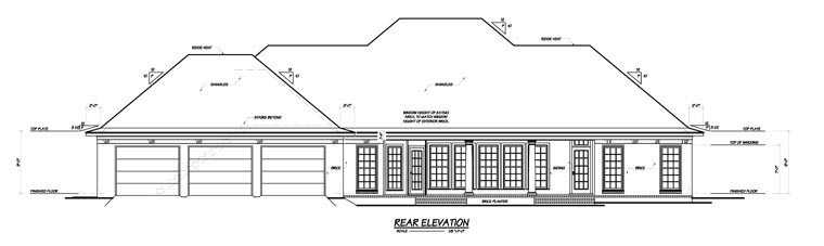 Colonial House Plan 56303 Rear Elevation
