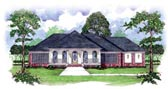 Colonial, One-Story House Plan 56308 with 4 Beds, 4 Baths, 2 Car Garage Elevation