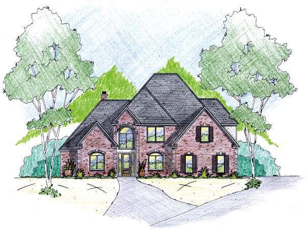 House Plan 56310 with 4 Beds, 3 Baths, 2 Car Garage Elevation