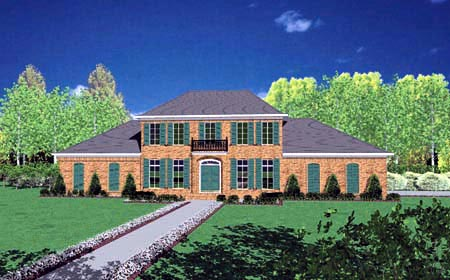 House Plan 56313 with 4 Beds, 4 Baths, 2 Car Garage Elevation