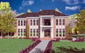 Colonial House Plan 56318 with 4 Beds, 4 Baths, 2 Car Garage Elevation