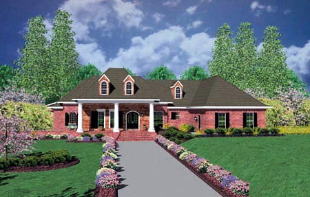 Colonial, One-Story House Plan 56329 with 3 Beds , 3 Baths , 3 Car Garage Elevation