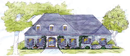 European House Plan 56330 with 4 Beds, 3 Baths, 3 Car Garage Elevation