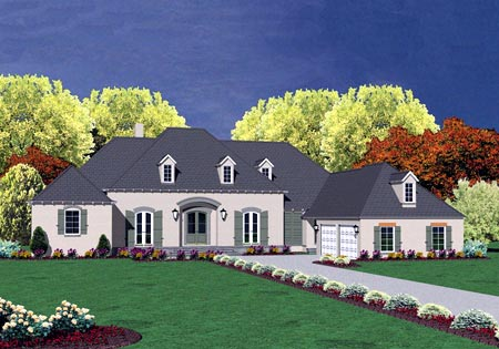 European House Plan 56336 with 4 Beds, 4 Baths, 2 Car Garage Elevation