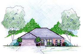 House Plan 56337 with 3 Beds, 2 Baths, 2 Car Garage Elevation