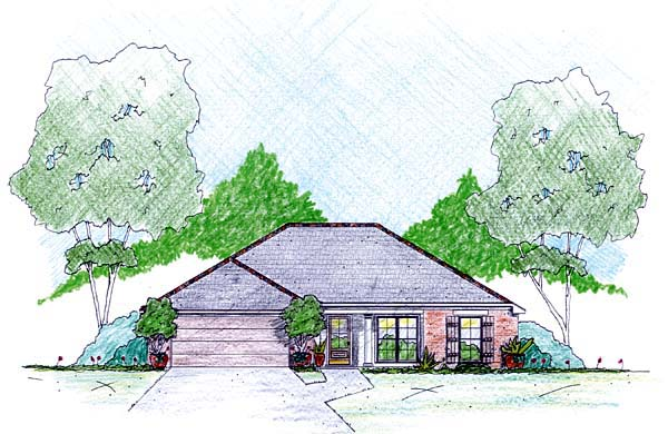 One-Story House Plan 56337 with 3 Beds, 2 Baths, 2 Car Garage Elevation