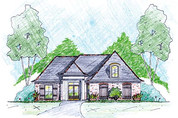 House Plan 56338 | Style Plan with 1535 Sq Ft, 3 Bedrooms, 2 Bathrooms, 2 Car Garage Elevation