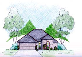 House Plan 56339   Style Plan with 1600 Sq Ft, 3 Bedrooms, 2 Bathrooms, 2 Car Garage Elevation