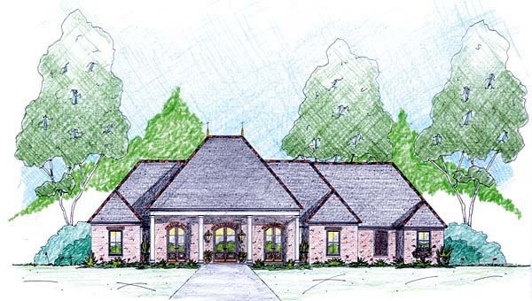 House Plan 56346 | Style House Plan with 2639 Sq Ft, 4 Bed, 4 Bath, 2 Car Garage Elevation