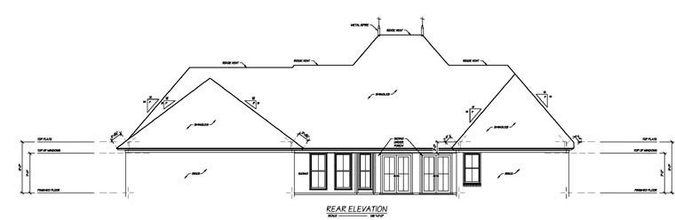 House Plan 56346 | Style House Plan with 2639 Sq Ft, 4 Bed, 4 Bath, 2 Car Garage Rear Elevation
