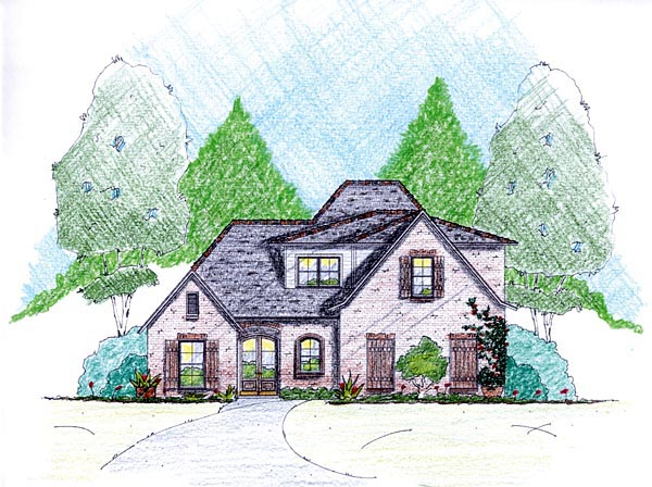 House Plan 56353 with 4 Beds, 4 Baths, 2 Car Garage Elevation