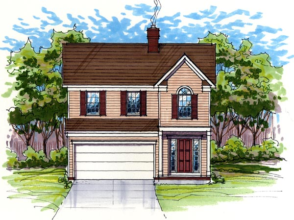 Colonial Country Farmhouse Traditional Elevation of Plan 56400
