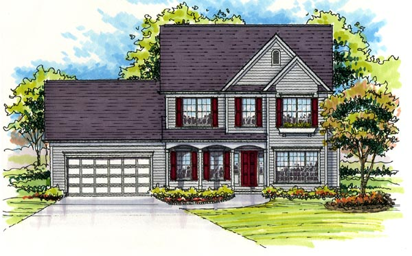 Colonial, Country, Farmhouse, Traditional, Victorian House Plan 56403 with 3 Beds, 3 Baths, 2 Car Garage Elevation