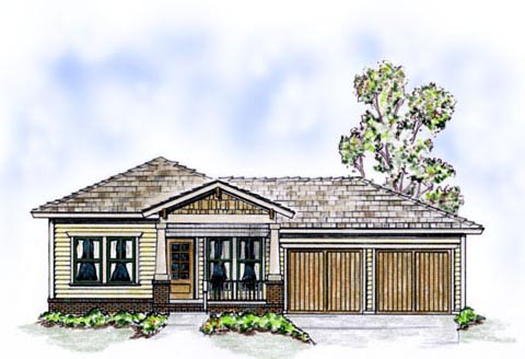 Elevation of Bungalow   Cottage   Craftsman   House Plan 56500