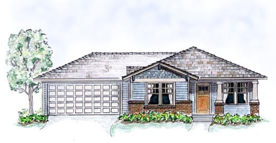 Bungalow, Craftsman House Plan 56503 with 3 Beds, 2 Baths, 2 Car Garage Elevation