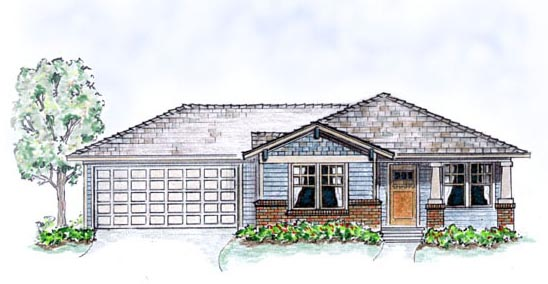 Bungalow , Craftsman House Plan 56503 with 3 Beds, 2 Baths, 2 Car Garage Elevation
