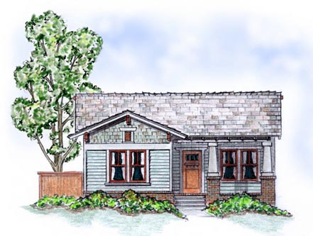 Elevation of Bungalow   Craftsman   House Plan 56504