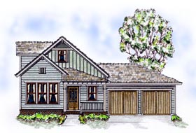 House Plan 56507 | Bungalow Country Farmhouse Style Plan with 1538 Sq Ft, 3 Bedrooms, 3 Bathrooms, 2 Car Garage Elevation