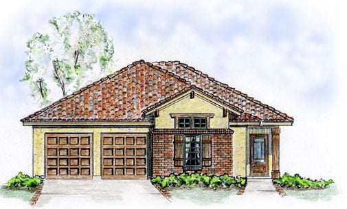 Mediterranean, Southwest House Plan 56508 with 3 Beds, 2 Baths, 2 Car Garage Elevation