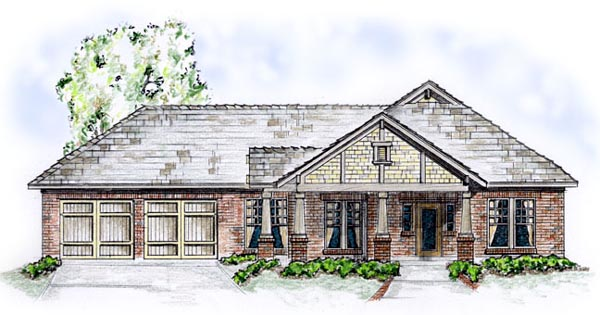 One-Story, Traditional House Plan 56516 with 3 Beds, 2 Baths, 2 Car Garage Elevation