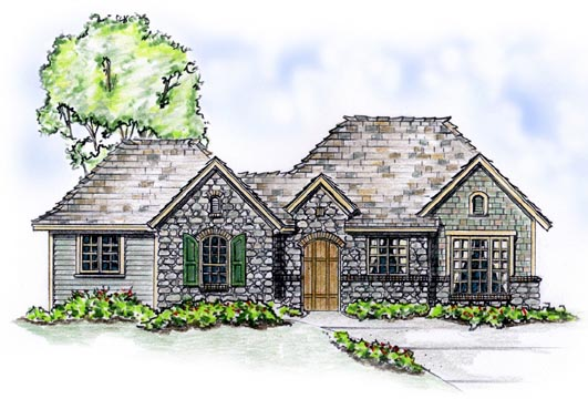 European House Plan 56517 Elevation