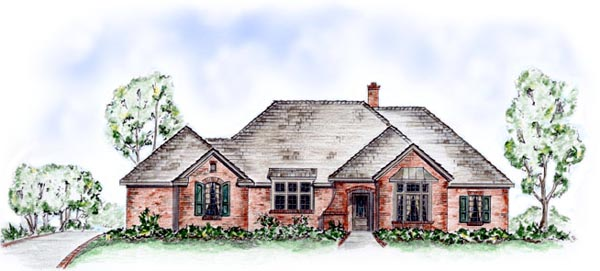 One-Story Traditional Elevation of Plan 56519