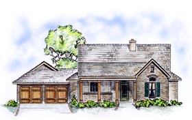 House Plan 56521 | Country Traditional Style Plan with 1996 Sq Ft, 3 Bed, 2 Bath, 2 Car Garage Elevation