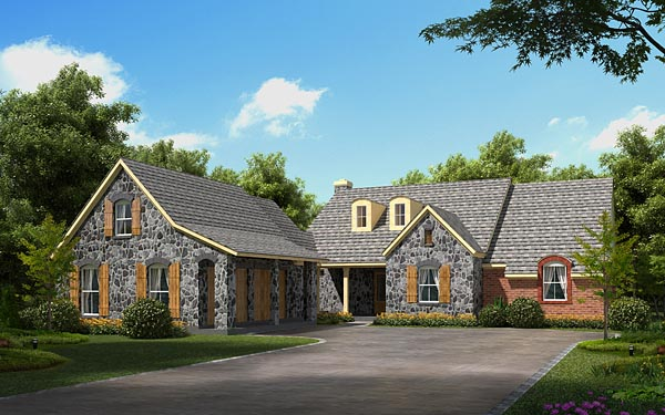 European House Plan 56523 with 3 Beds, 3 Baths, 2 Car Garage Elevation