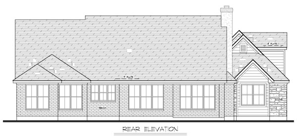 European House Plan 56523 with 3 Beds, 3 Baths, 2 Car Garage Rear Elevation