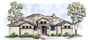 Florida Mediterranean Southwest House Plan 56528 Elevation