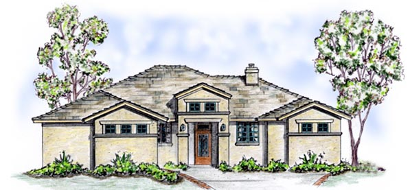 Florida, Mediterranean, One-Story, Southwest House Plan 56528 with 3 Beds, 2 Baths, 2 Car Garage Front Elevation