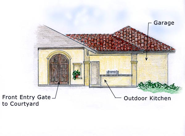 Florida, Mediterranean, Southwest House Plan 56530 with 3 Beds, 2 Baths, 2 Car Garage Picture 1