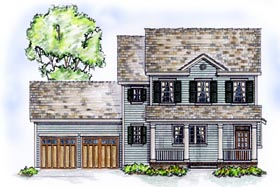 Country , Farmhouse , Traditional House Plan 56531 with 3 Beds, 3 Baths, 2 Car Garage Elevation