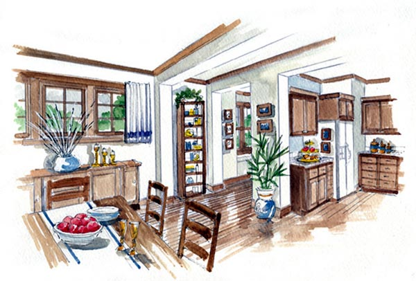 Country Farmhouse Traditional House Plan 56531