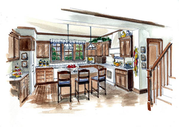 Country, Farmhouse, Traditional House Plan 56531 with 3 Beds, 3 Baths, 2 Car Garage Picture 4