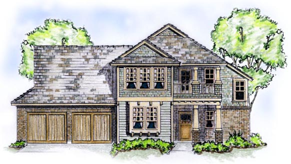 Craftsman House Plan 56532 with 4 Beds, 3 Baths, 2 Car Garage Elevation