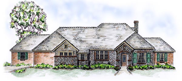 European, One-Story, Traditional House Plan 56533 with 3 Beds, 2 Baths, 3 Car Garage Elevation