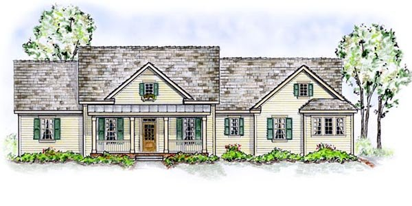 Country One-Story Traditional Elevation of Plan 56534