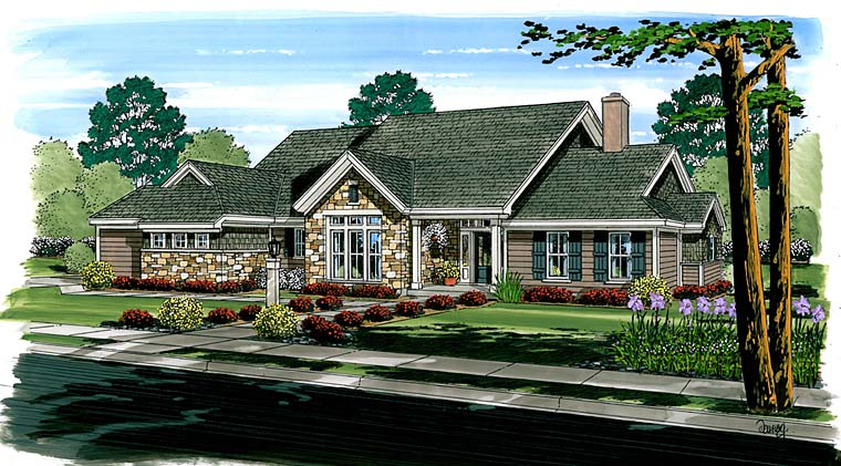 Ranch Traditional House Plan 56536 Elevation
