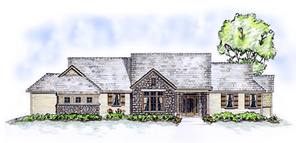 Ranch, Traditional House Plan 56536 with 3 Beds, 3 Baths, 3 Car Garage Picture 1