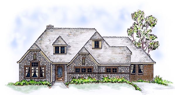 European, One-Story House Plan 56538 with 3 Beds, 3 Baths, 2 Car Garage Front Elevation