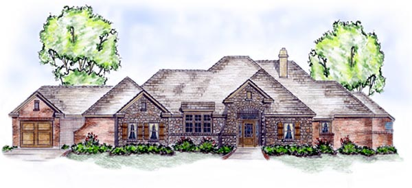 European House Plan 56539 Elevation