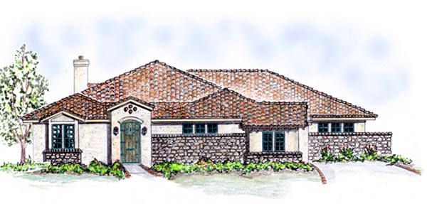 Mediterranean, Southwest House Plan 56540 with 3 Beds, 3 Baths, 3 Car Garage Elevation