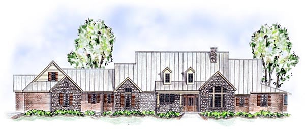 European Traditional House Plan 56543 Elevation