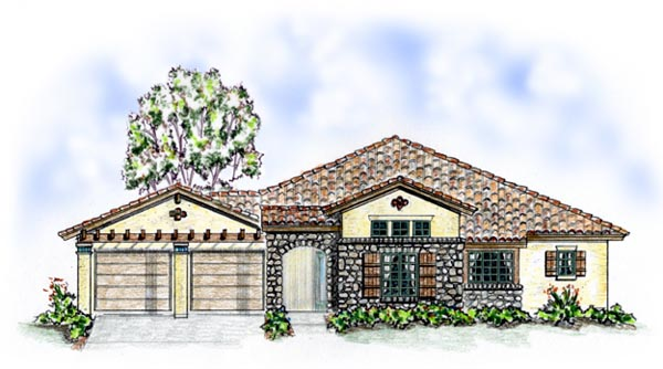 Florida, Mediterranean, One-Story, Southern House Plan 56544 with 3 Beds, 3 Baths, 2 Car Garage Front Elevation